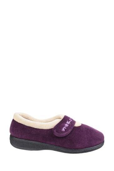 Fleet & Foster Purple Capa Touch Fastening Memory Foam Slippers