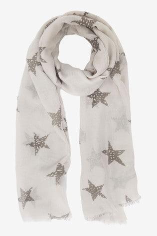 Mint Velvet Pale Grey Metallic Star Scarf