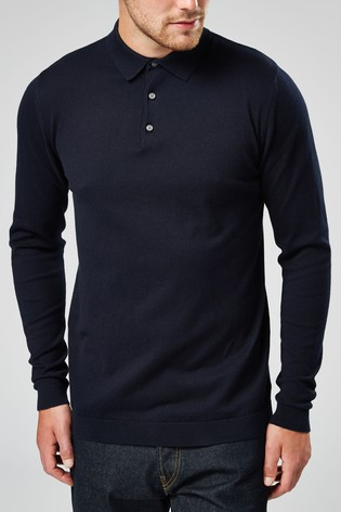Navy Knitted Poloshirt