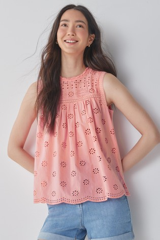 Pink Broderie Sleeveless Top