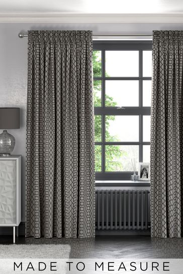 Geo Silver Grey Made To Measure Curtains
