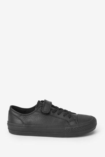 Black Standard Fit (F) Leather Single Strap Elastic Laces Bump Toe Shoes