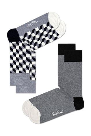Happy Socks Grey/White Socks Two Pack