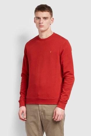Farah Red Tim Crew Neck Sweatshirt