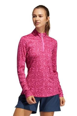 adidas Pink Golf Aero Ready Print Long Sleve Polo Shirt