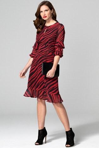 Hot Squash Animal Print Chiffon Dress