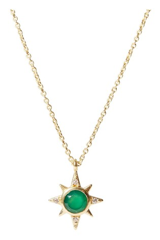 Oliver Bonas Galaxy Star Charm Gold Plated Pendant Necklace