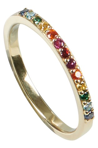 Oliver Bonas Rainbow Stone Detail Gold Plated Ring