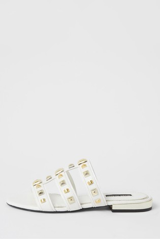 River Island White Caged Studded Flat Sandals