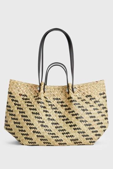 AllSaints Natural/Black Alington Straw Tote Bag