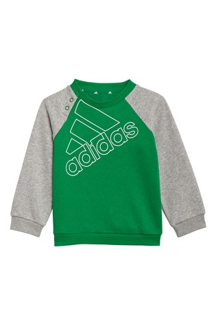 adidas Infant Green Crew And Joggers Set