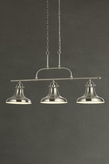 Searchlight Silver Helix 3 Light Industrial Bar Pendant