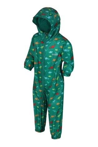 Regatta Green Kid's Waterproof All-In-One Printed Puddlesuit