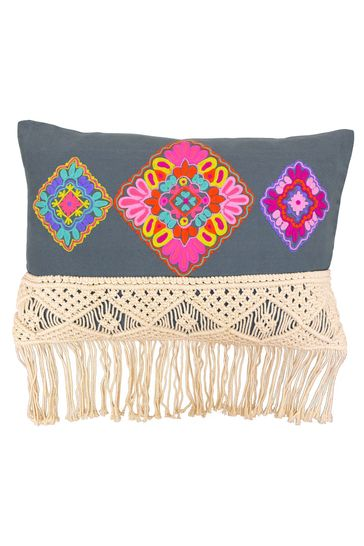 Apache Woven Striped Tassel Cushion by Riva Home
