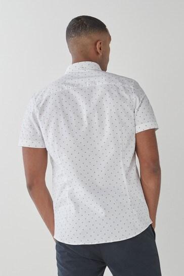 White Dot Slim Fit Slim Fit Short Sleeve Stretch Oxford Shirt