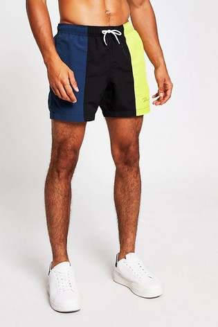 River Island Black Andre Vertical Colourblock Swim Shorts