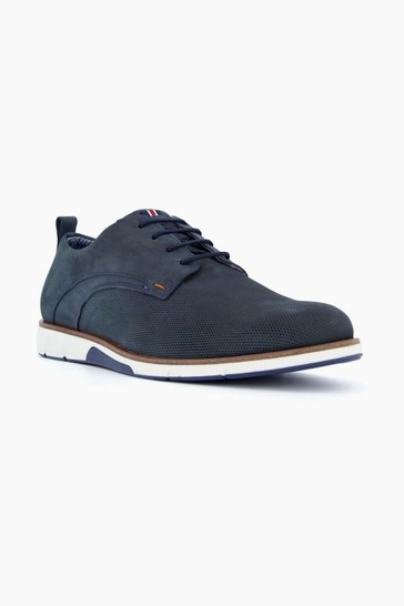Dune London Blue Balad Punched Plain Wedge Gibson Shoes