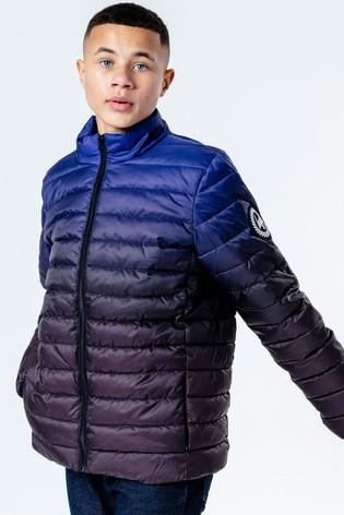 Hype. Blue Fade Print Lightweight Puffer Coat