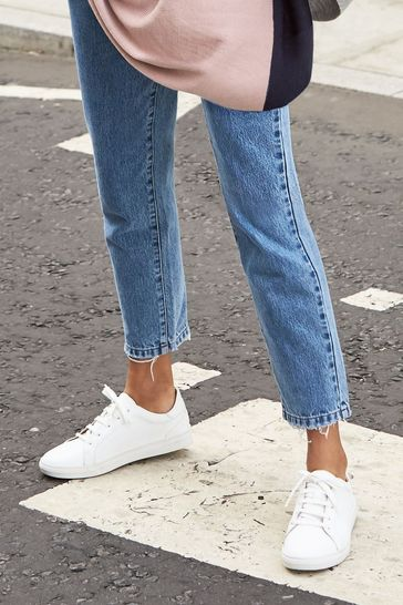 White Signature Leather Trainers