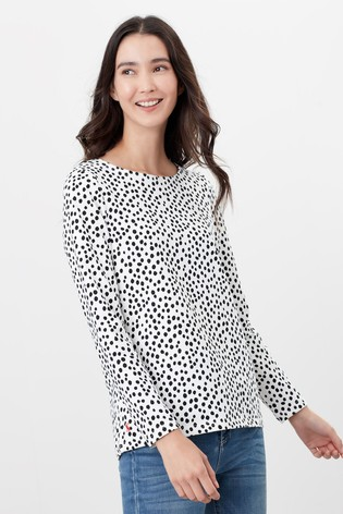 Joules Cream Harbour Print Long Sleeve Jersey Top