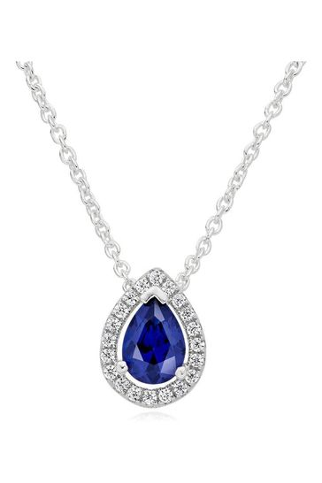 Beaverbrooks Sterling Silver Cubic Zirconia Blue Pear Halo Pendant