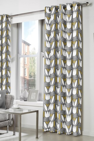 Haldon Geo Floral Eyelet Lined Curtains by Fusion