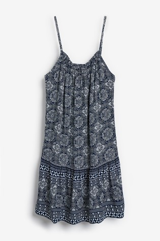Navy Tile Print Lightweight Slip