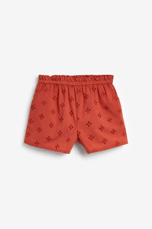 Rust Broderie Shorts Cotton Co-Ord (3-16yrs)