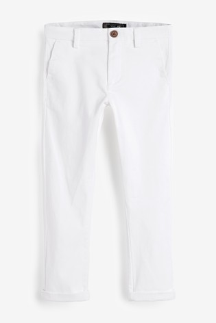 White Slim Fit Stretch Chino Trousers (3-16yrs)