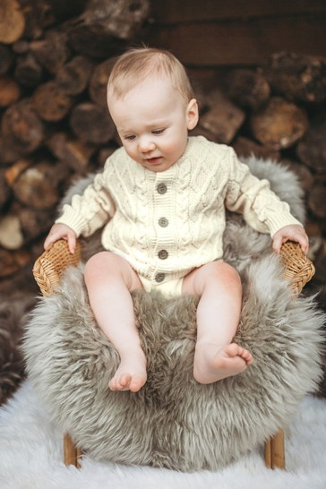 The Little Tailor Cream Cable Knit Baby Cardigan