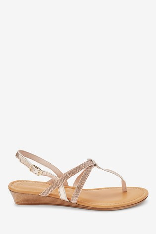 Rose Gold Forever Comfort® Mini Wedge Toe Post Sandals