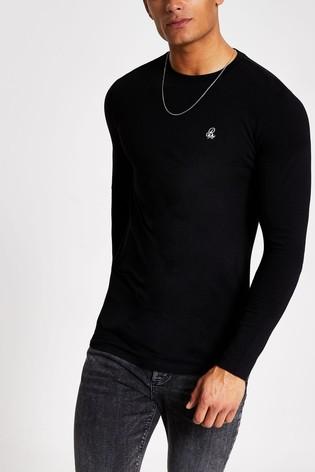 River Island Black Pique Hem T-Shirt