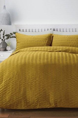 Serene Yellow Seersucker Duvet Cover and Pillowcase Set