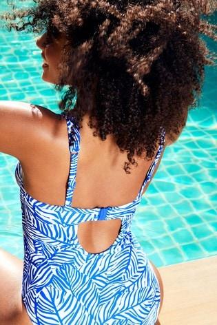 Figleaves Blue Cape Cod Underwired Twist Plunge Tummy Control Swimsuit