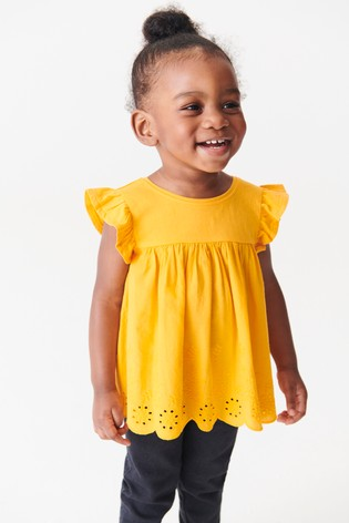 Orange Woven Front Jersey Back Blouse (3mths-7yrs)