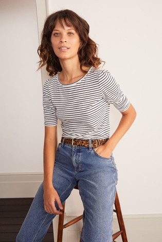 Boden Cream Florrie Ruched Sleeve Top