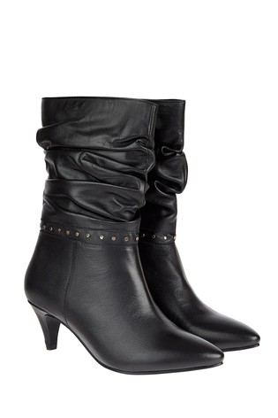 Monsoon Black Slouch Studded Leather Boots