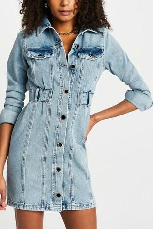 River Island Denim Medium Waisted Denim Shirt Dress