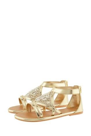 Monsoon Diamond Shape Gold Beaded Sandals