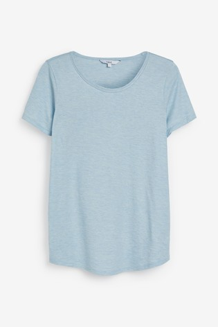 Blue Cut Metallic Scoop T-Shirt