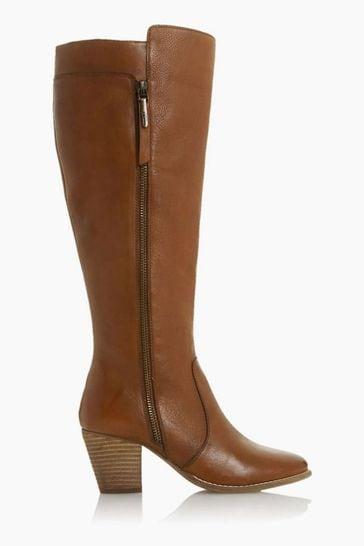 Dune London Tiana Tan Western Block Heel Knee High Boots