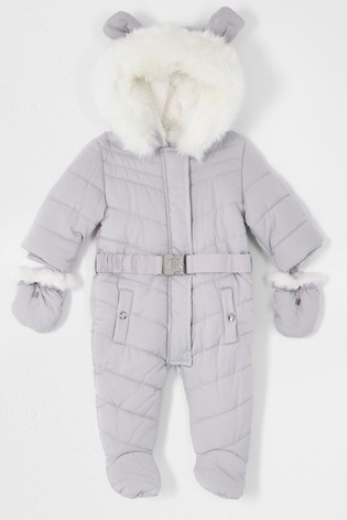 River Island Grey Light Snowsuit With Ears