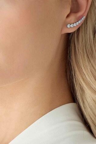 Beaverbrooks Silver Cubic Zirconia Climber Earrings
