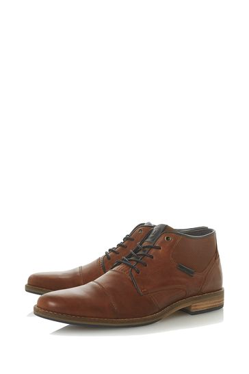Dune London Chigwell Tan Leather Metal Eye Chukka Boots