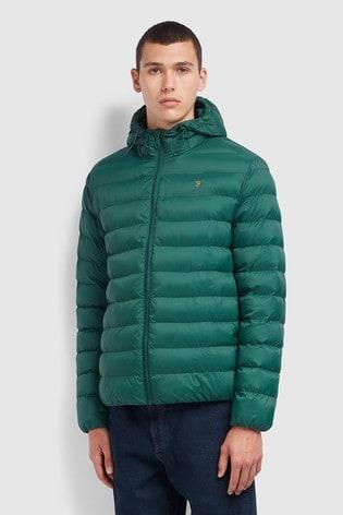 Farah Green Strickland Wadded Jacket