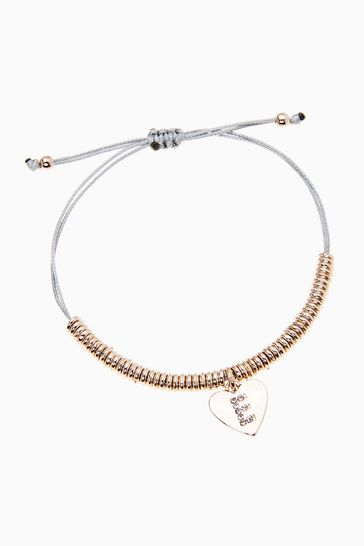 Rose Gold Tone Initial Charm Pully Bracelet