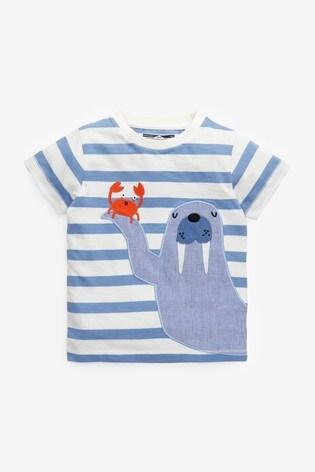 White Stripe Walrus Appliqué T-Shirt (3mths-7yrs)