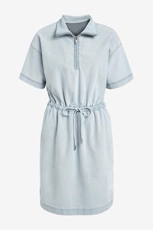 Mid Blue Jersey Denim Drawcord Waist Dress