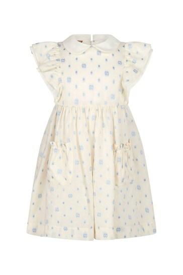 Girls Cream Cotton Dress