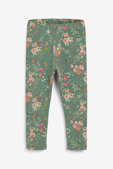 Green Floral Leggings Leggings (3mths-7yrs)
